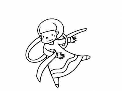 跳舞的小姑娘简笔画 爱跳舞的小女孩动作简笔画